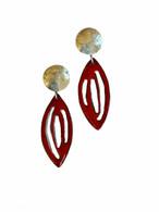 Pierced red enamel and sterling silver earrings