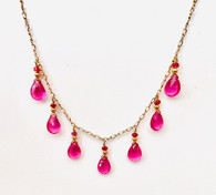 14k gold necklace with rubellite quartz & pink tourmaline drops