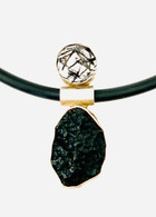Sterling silver pendant with moldavite meteorite & tourmalinated quartz