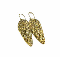 Sterling Silver and 24K Gold Keum Boo Pebble Earrings with 14K