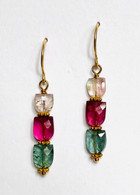 14k, 18k gold earrings with multi color tourmalines