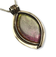 "Fused Glass Pendant - sterling silver and gold filled accents  -24"" sterling silver wheat chain  1.5"" x 2.5"""