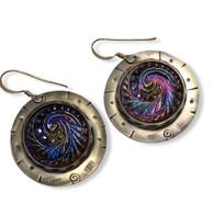 Iridescent Glass Swirl Earrings - sterling silver