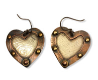 Rustic Heart Earrings - etched copper on silver  1.25x 1.25