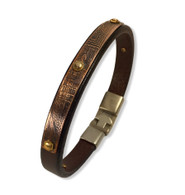 Brown Leather Bracelet with etched silver and rivets  10mm  size 8""