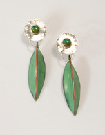 Sterling silver and turquoise earrings with green enamel pods,