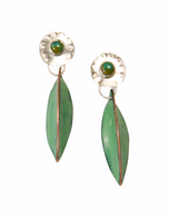 Green enamel pods with sterling silver and turquoise