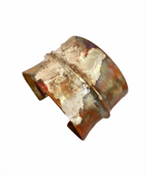 Fold formed copper cuff with fused silver