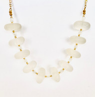 14k gold filled necklace with large frosted quartz and smaller moonstone beads