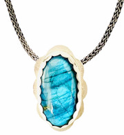 Sterling silver pendant with oval blue Labradorite cabochon - chain is separate