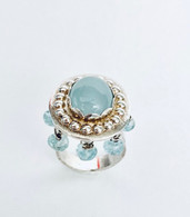 Sterling silver ring with chatoyant oval aquamarine & hanging aquamarinee beads size 6 - 6 1/2