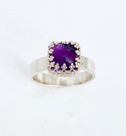 Sterling silver ring with cushion Amethyst cabochon - size 7 1/2