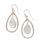 Sterling silver hammered  tear drop earrings with  tear drop pearls
