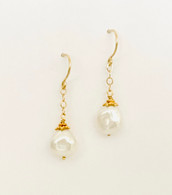 14k, 18k gold earrings with white baroque Pearls