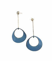 Sterling silver blue enamel mobius earrings