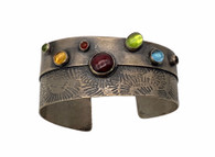 Sterling Silver Cuff with Peridot, Citrine, Carnelian,and Garnet