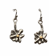 Sterling Silver and 22K Gold Flower Earrings