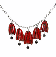 Oxidized sterling silver, black onyx and red enamel tulip necklace