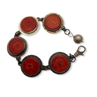 Red sponge coral and sterling silver bracelet