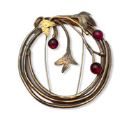 Sterling silver and 14K gold wreath pin with rhodolite garnets