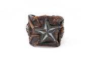 All-Star Vintage Brown Skulled Leather Wristband