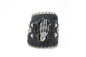 Chained Metal Studded Centered Rockstar Hand Leather Wristband