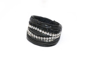 Diamonds Are Forever Rockstar Leather Wristband