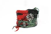 Aquamarine, Black And Red Rockstar Leather Wristband