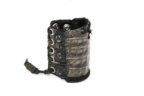 Alligator and Leather combination Braided Leather Wristband