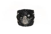 Black & Grey Cross Face MetalMania Rockstar Leather Wristband
