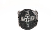 Black Or Grey One Way Rockstar Cross Wristband