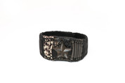 All-Star Black, Grey & White Illuminating Leather Wristband