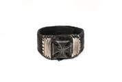 Black & White Illuminating Rockstar Cross Leather Wristband