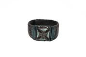 Black & Green Illuminating Rockstar Cross Leather Wristband