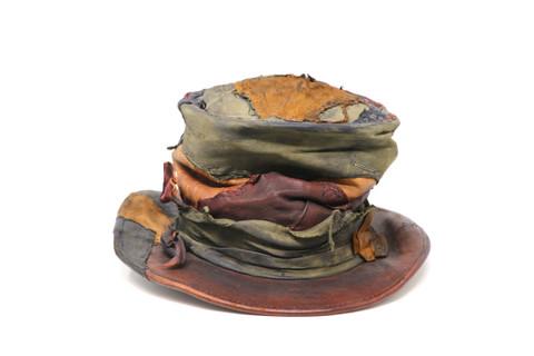 Burgundy/Green/Brown Crumpled Crown Top-Hat