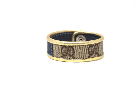 Single Row Gucci Wristband/Cuff Stitched Blue Stripe Gold Leather Bordering
