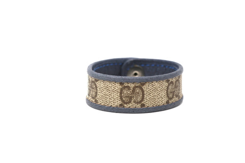 Single Row Gucci Wristband/Cuff Stitched Gold Stripe Blue Leather Bordering