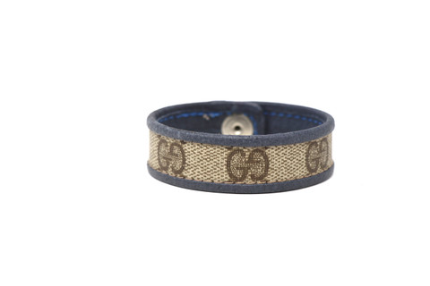 Single Row Gucci Wristband/Cuff Stitched Blue Leather Bordering