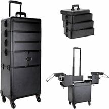 Large Rolling Aluminum Trolley Beauty Case with Stackable Trays & Locking Key - Smooth Black or Black Krystal Bling