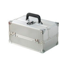 Stocked Japonesque Medium Makeup Train Case - Silver Dot