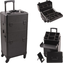 Large Professional Rolling Aluminum Makeup Case - Extendable Trays - Smooth Black