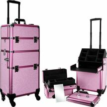 Large Professional Rolling Beauty Case - Extendable Trays - Pink Krystal Bling