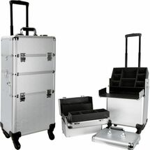 Large Professional Rolling Beauty Case - Extendable Trays - Smooth Silver