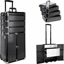 Pro Rolling Trolley Makeup Case with Drawers - Black Krystal Bling