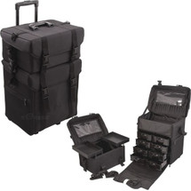 Trolley Rolling Beauty Case - Black Nylon - Stackable