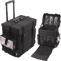 Soft Sided Pro Rolling Nylon Beauty Case with 8 Removable Trays