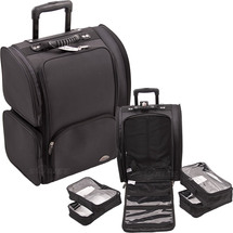 Soft-Sided Pro Rolling Makeup Case with Clear Bags