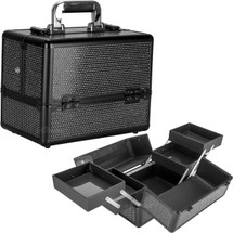 Krystal Bling Makeup Case with 4 Extendable Trays - Black or Pink