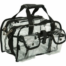 Medium Clear Makeup Set Bag with Shoulder Strap - Clear or Blue Pockets