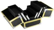 Compact Makeup Case with 4 Extendable Trays - 3 Stylish Gold Color Options